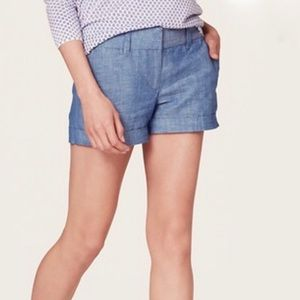 LOFT chambray linen blend casual shorts size 6